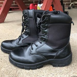 Texas Steer Black Leather Combat Boots